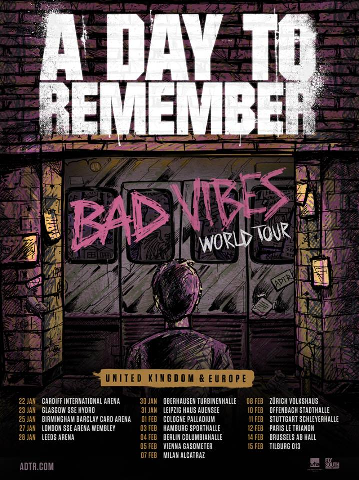 a day to remember announce 2017 tour in support of new album 39 bad vibrations 39 soundcheck live. Black Bedroom Furniture Sets. Home Design Ideas