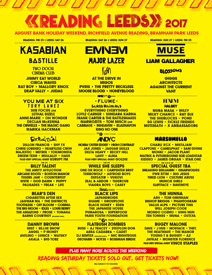 reading and leeds festival 2017